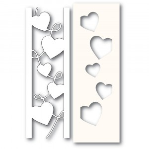 Poppy Stamps Stanzschablone - Curvy Heart Side Strips and Stencil