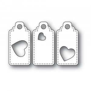 Poppy Stamps Stanzschablone - Heart Tag Trio