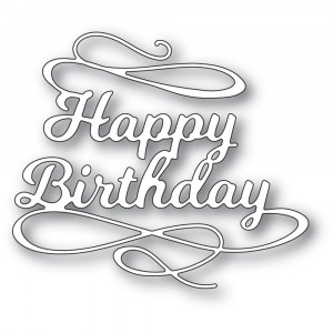 Poppy Stamps Stanzschablone - Happy Birthday Flourish