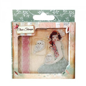 Santoro Clear Stamps - Willow Collection - Mademoiselle Snow
