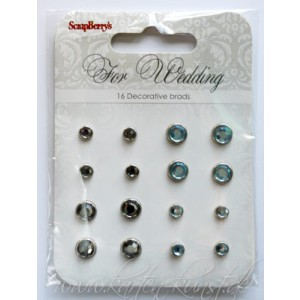 Scrapberry's Strass-Brads - For Wedding Grau & Blau
