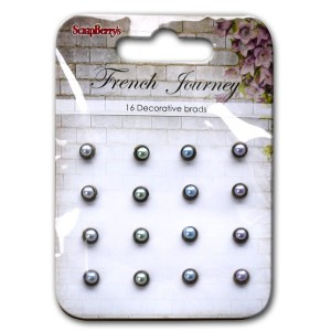 Scrapberrys Perlen-Brads - French Journey Hellgrau, Hellgrün, Hellblau, Helllila