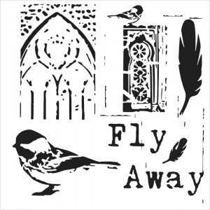 "Crafter's Workshop Template 6""X6"" - Fly Away"