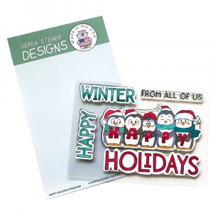 Gerda Steiner Design Clear Stamps - Happy Holiday Penguin 4x6