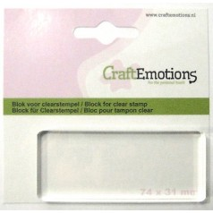 CraftEmotions Acrylblock für Clear Stamps - 7,4 cm x 3,1 cm