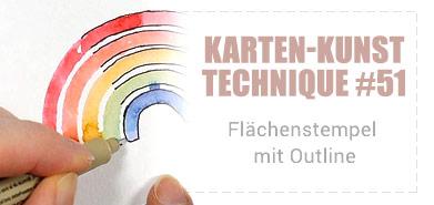 Karten-Kunst Technique #51: Flächenstempel mit Outline – mit Video!